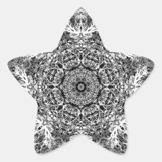 Black and White Decorative Round Pattern. Star Sticker