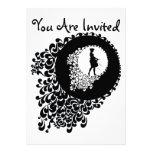 Black And White Decorative Silhouette Girl Custom Invitations