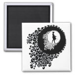 Black And White Decorative Silhouette Girl Refrigerator Magnet