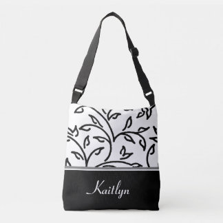 Black and White Decorative Vines | Personalized Tote Bag