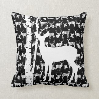 Black and White Deer Birch Forest Throw Pillow