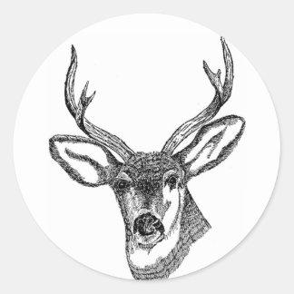 Black and White Deer Classic Round Sticker