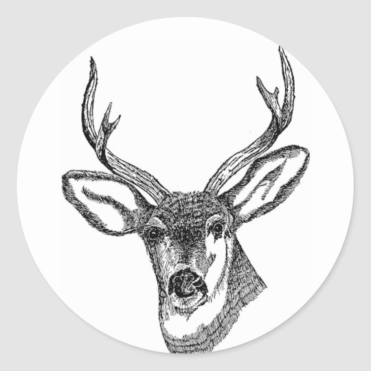 Black and White Deer Classic Round Sticker