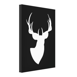 Black and White Deer Silhouette Canvas Print
