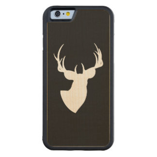 Black and White Deer Silhouette Carved® Maple iPhone 6 Bumper Case