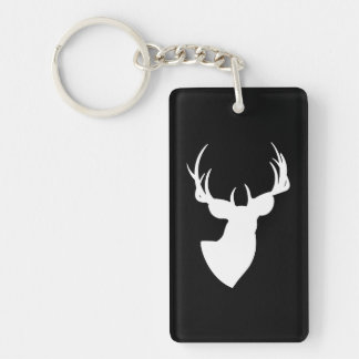 Black and White Deer Silhouette Keychain