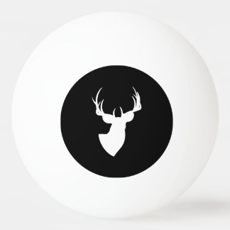 Black and White Deer Silhouette Ping Pong Ball
