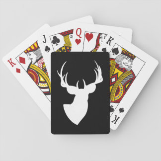 Black and White Deer Silhouette Playing Cards