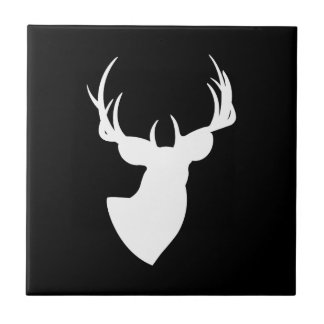 Black and White Deer Silhouette Ceramic Tiles