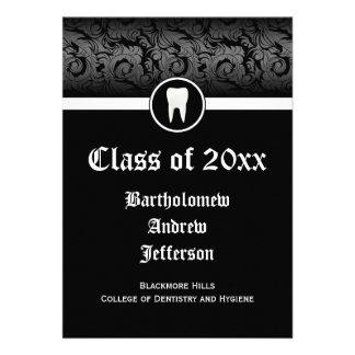 Black and White Dental School Graduation 5x7 Personalized Invites