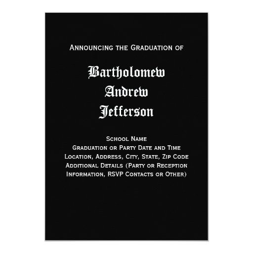Black and White Dental School Graduation 5x7 Personalized Invites (back side)