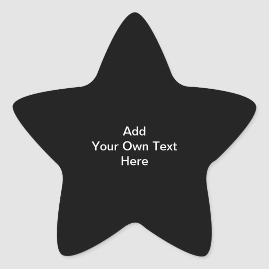 Black and White design, custom text. Star Sticker
