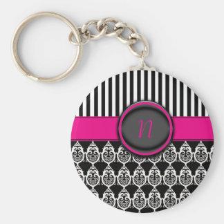 Black  and white design with customizable monogram basic round button keychain