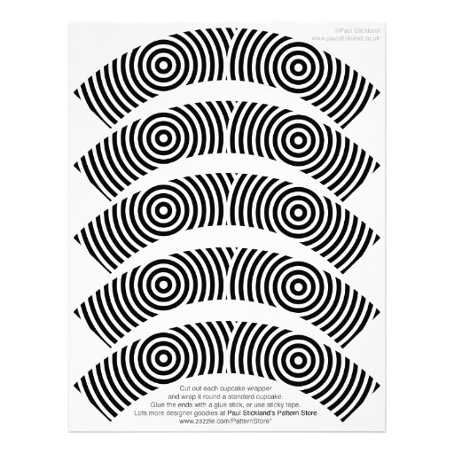 Black and White Designer Cupcake Wrappers on Letterhead