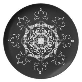 Black and White Designer Decorative Curves Melamine Plate