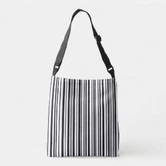 Black and white designer stripes - High Quality Crossbody Bag