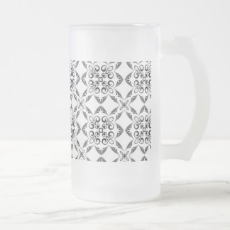 Black and White Detailed Pattern Frosted Glass Beer Mug