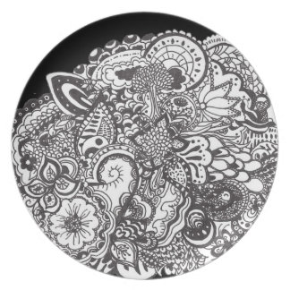 Black and white detailed pen and ink art plate