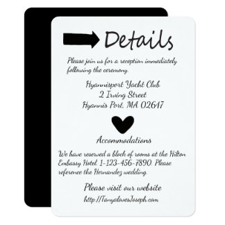 Black And White Details Heart And Arrow Wedding Card