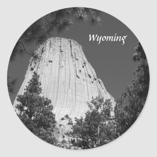 Black and White Devils Tower Classic Round Sticker