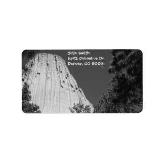 Black and White Devils Tower Label