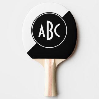 Black and White Diagonal Color Block Monogram Ping-Pong Paddle