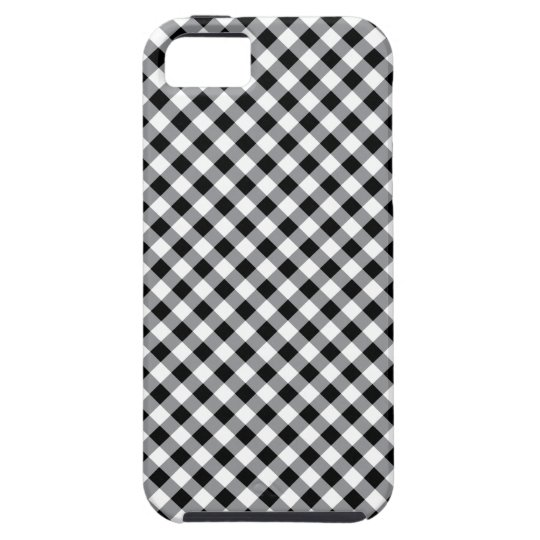 Black and white diagonal Gingham pattern case