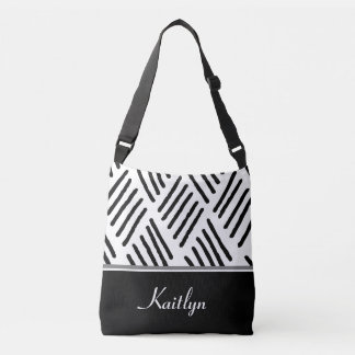 Black and White Diagonal Lines | Personalized Tote Bag