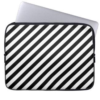 Black and White Diagonal Stripes. Laptop Sleeve