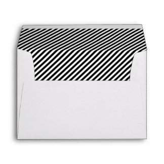 Black and White Diagonal Stripes Lined Envelope