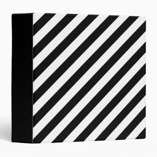 Black And White Diagonal Stripes Pattern 3 Ring Binder