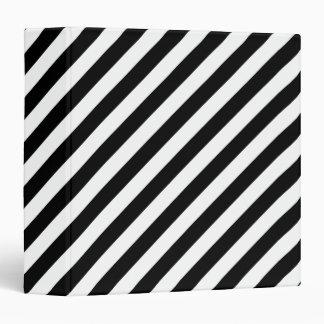 Black And White Diagonal Stripes Pattern Binder