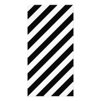 Black And White Diagonal Stripes Pattern Card