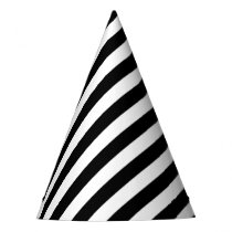 Black And White Diagonal Stripes Pattern Party Hat