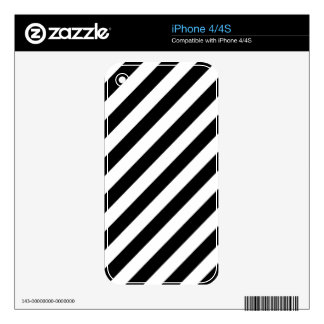 Black And White Diagonal Stripes Pattern Skin For iPhone 4S