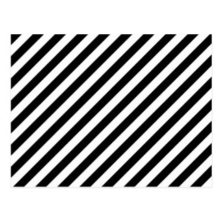 Black and White Diagonal Stripes. Postcard