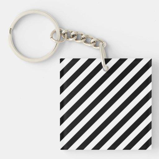 Black and White Diagonal Stripes. Single-Sided Square Acrylic Keychain