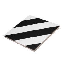 Black and White Diagonal Stripes Tile