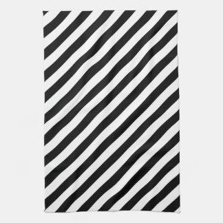 Black and White Diagonal Stripes. Towel