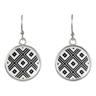 Black and White Diamond Abstract Drop Earrings