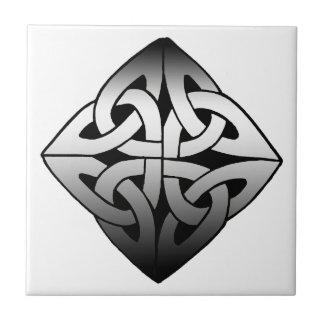 Black and White Diamond Celtic Knot Tile