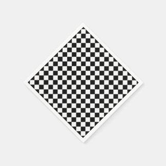 Black And White Diamond-Checkerboard Paper Napkin