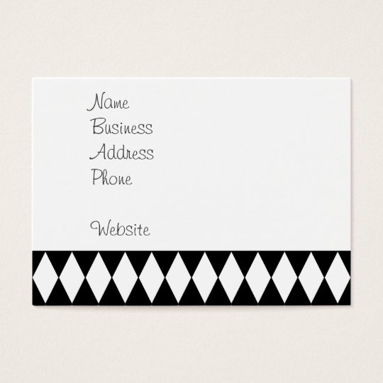 Black and White Diamond Harlequin Pattern Business Card