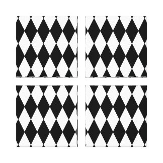 Black and White Diamond Harlequin Pattern Stretched Canvas Print