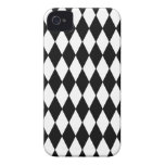 Black and White Diamond Harlequin Pattern iPhone 4 Covers