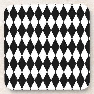 Black and White Diamond Harlequin Pattern Coaster
