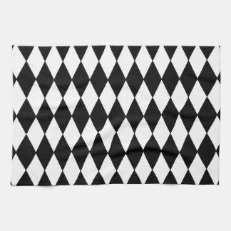 Black and White Diamond Harlequin Pattern Hand Towels