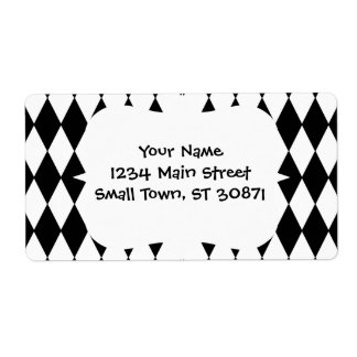 Black and White Diamond Harlequin Pattern Personalized Shipping Labels