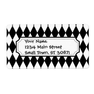 Black and White Diamond Harlequin Pattern Labels