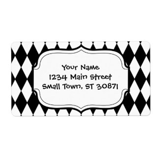 Black and White Diamond Harlequin Pattern Shipping Label